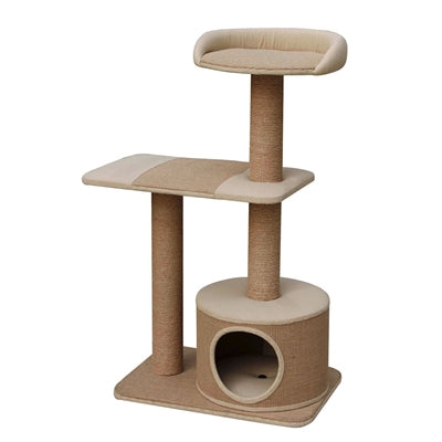 Piller - Jute Three Level Cat Tree with Condo - JT wagglepurr