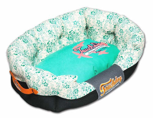 Lavender Touchdog Floral-Galore Ultra-Plush Rectangular Rounded Designer Dog Bed - JT wagglepurr