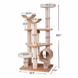 Everest - Beige Multi-Level Carpet Cat Tree Play House - JT wagglepurr