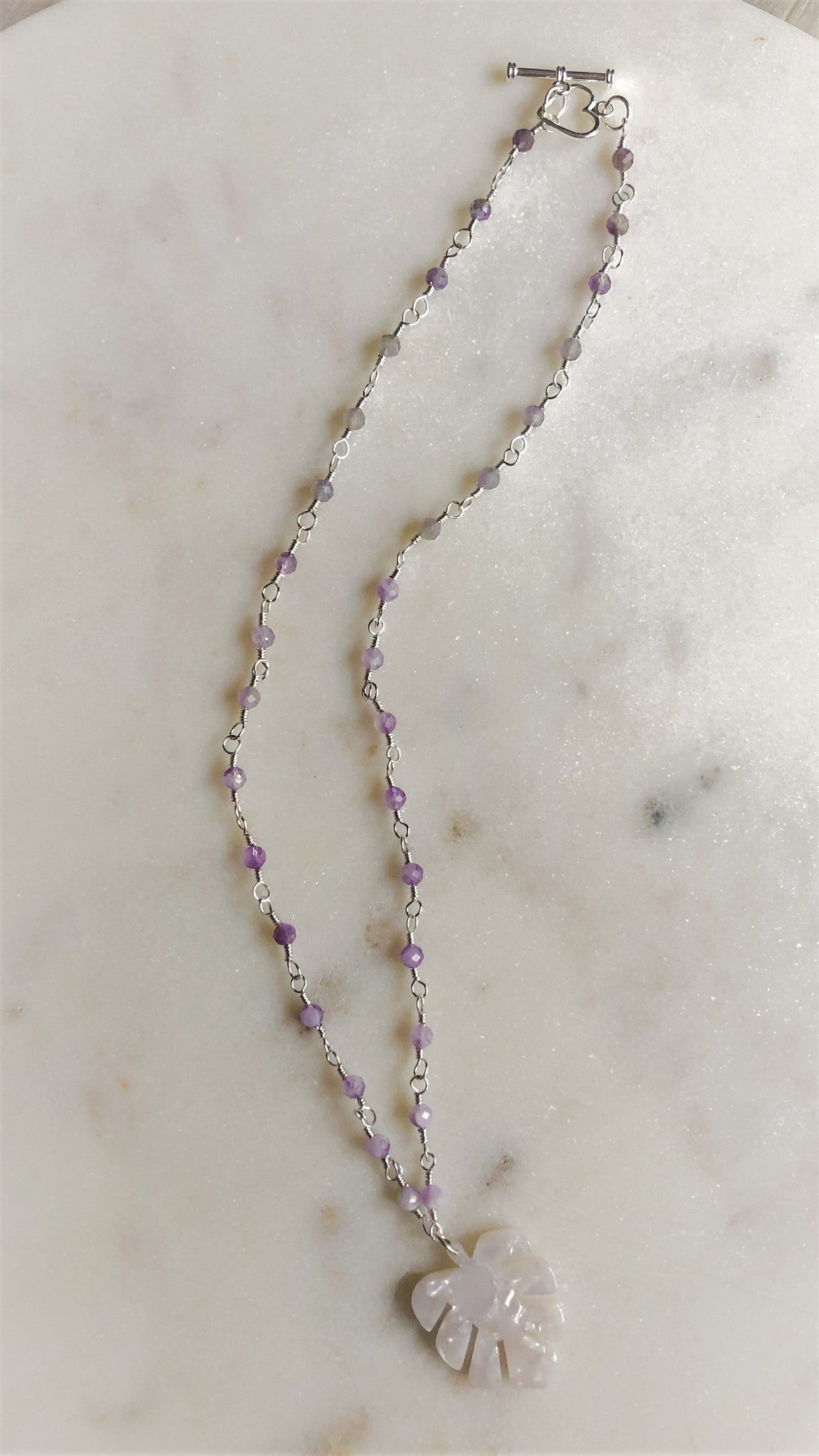 Monstera Amethyst Necklace