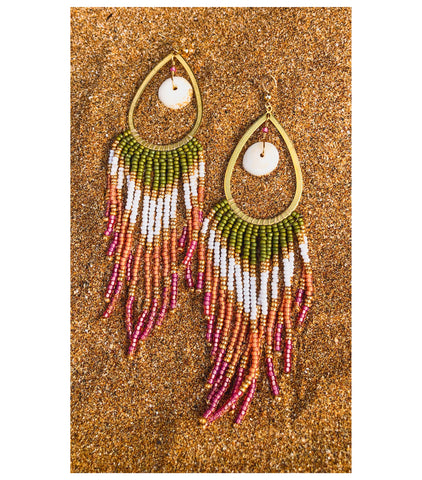 Puka Plumeria Fringe Earrings