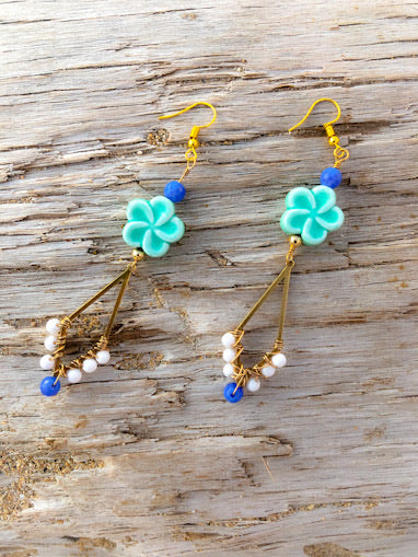 Hibiscus Blue Hoop Earrings