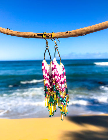 Aloha Fringe Earrings- Emerald