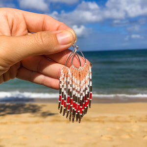 Aloha Fringe Earrings- Gold/Red
