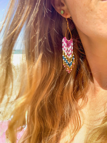 Aloha Fringe Earrings - Magenta