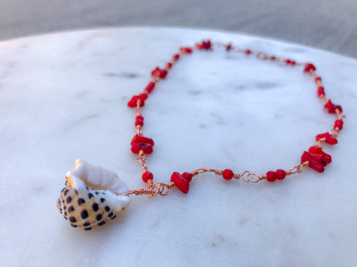 Red Coral Drupe Necklace
