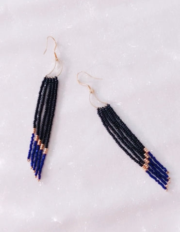 Midnight Moon Fringe Earrings