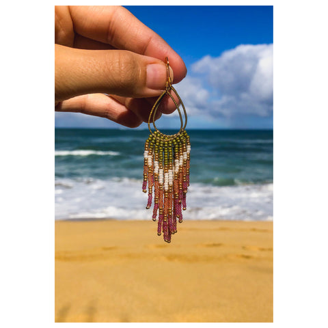 Mini Plumeria Fringe Earrings