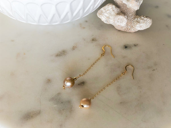 Single Freshwater Pearl 14k Gold Drop Chain Earrings