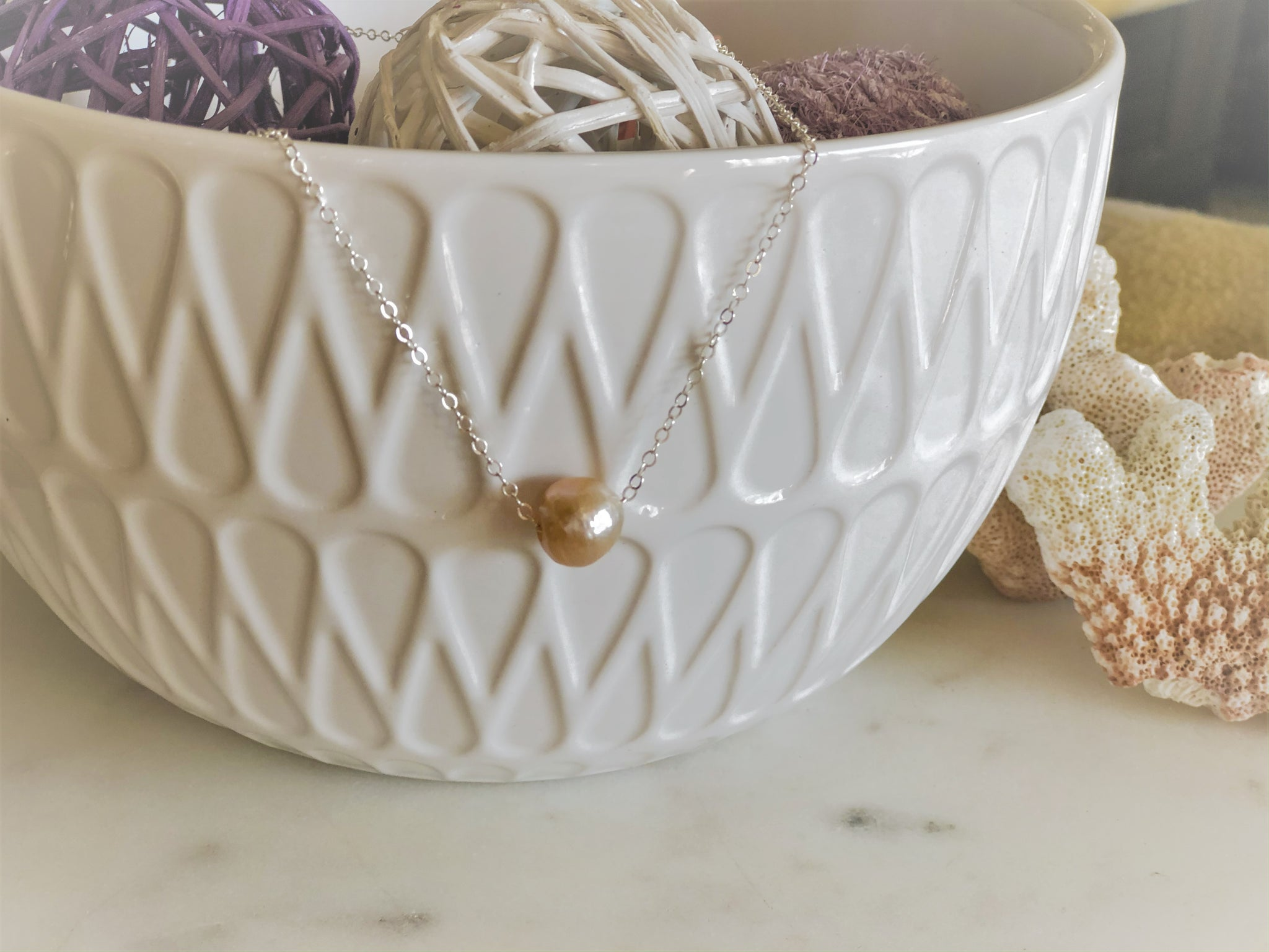 Single Freshwater Pearl and Moonstone Silver Necklace