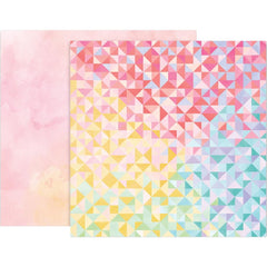 Paper 22 Triangles/Watercolors 12x12 Paper-Pink Paislee Bloom Street