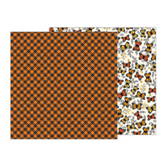 Pumpkin Plaid 12x12 Paper-Pebbles Midnight Haunting