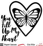 Butterfly Heart Love Free Cut File