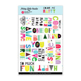 Totally Cool Words CLEAR Stickers-Pretty Little Studio Color Me Happy