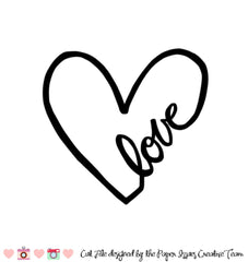Love Script Heart-Free Cut File