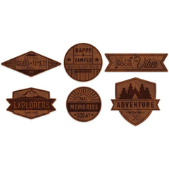 Outfitters Faux Leather Badges-Pink Paislee
