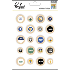 Boys Fort Wood Buttons Stickers-Pinkfresh Studio