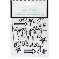 Black Birthday Buzzwords Epoxy Stickers-Heidi Swapp