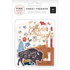 Ephemera Die Cuts-Pink Paislee Sweet Freedom