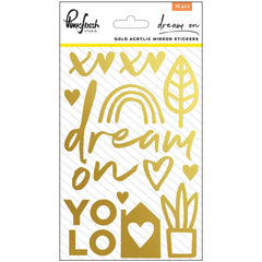 Dream On Gold Acrylic Mirror Stickers-Pinkfresh Studio