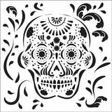 Mexican Skull 6x6 Mini Template Stencil-Crafter's Workshop Mask