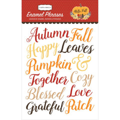 Hello Fall Enamel Words & Phrases Stickers-Carta Bella