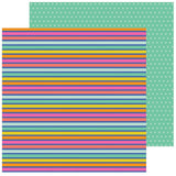 Rainbow Stripes 12x12 Paper-Pebbles Live Life Happy