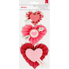 Valentine Heart Rosettes-Layered Stickers-American Crafts