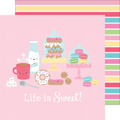 Sweet Shoppe Stripe 12x12 Paper-Doodlebug Cream & Sugar