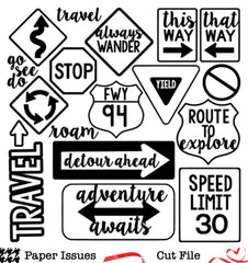 Travel Signs-Free Cut File