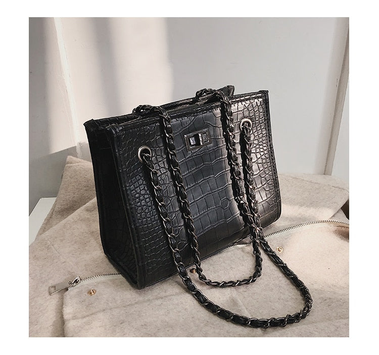 Retro Crocodile Pattern Shoulder Bag. Available In 3 Colours. - Hidden Gem Bags & Accessories.