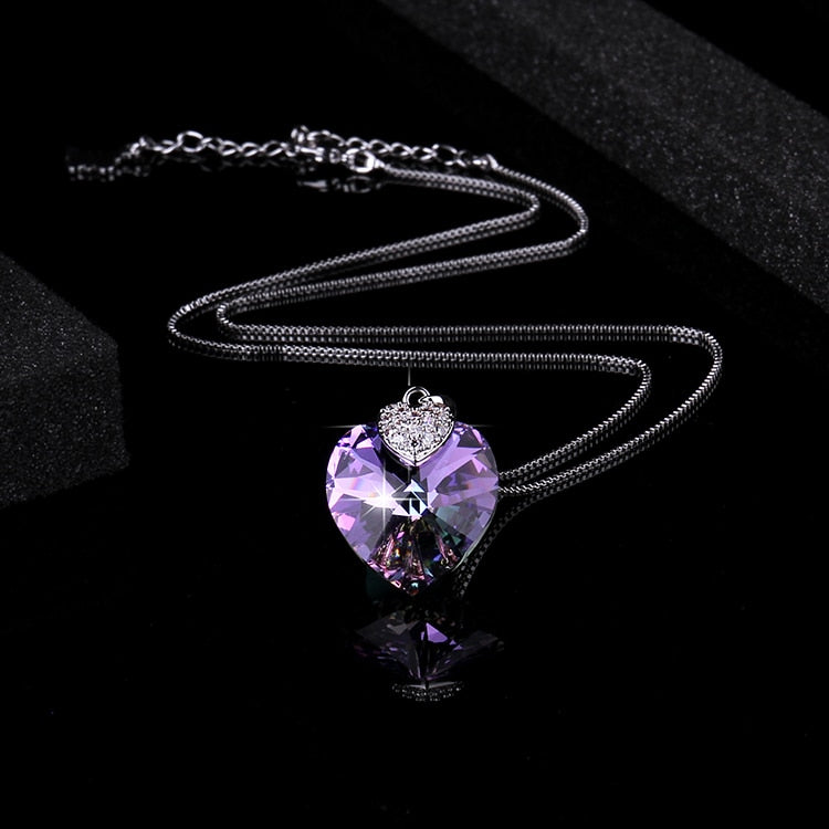 Amethyst Crystal Heart Necklace