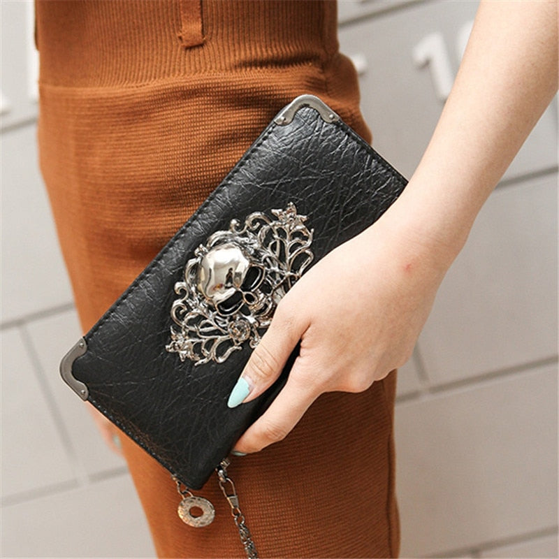 Ladies Skull Design Clutch Purse. Available  In 5 Colours. - Hidden Gem Bags & Accessories.