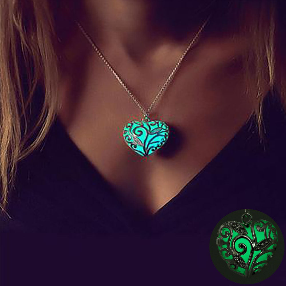Luminous Hollow Heart Pendant Necklace. - Hidden Gem Bags & Accessories.