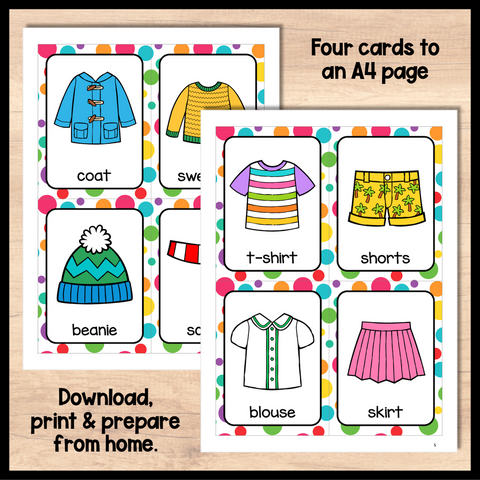 Clothes Flashcards for Online ESL and VIPKID Teachers