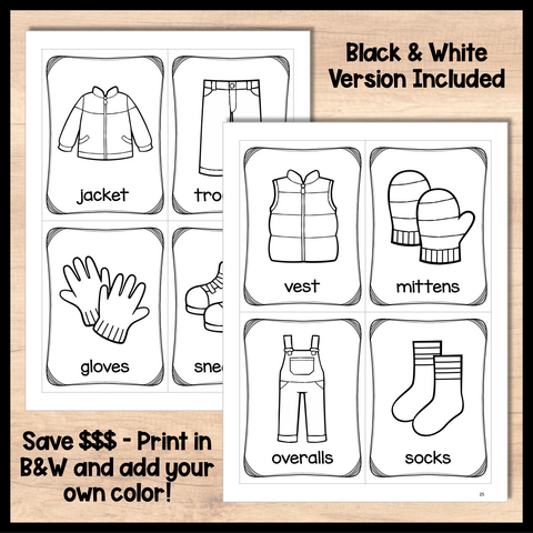 Clothing Flashcards for ESL Vocabulary Activities and Vocabulary Games