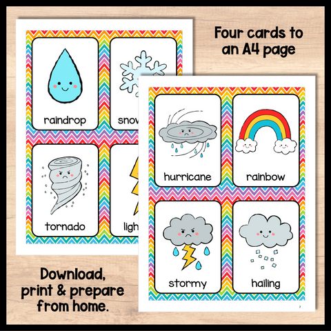 ESL Beginners Flashcards - Weather Flashcards for Online ESL and VIPKID Classes