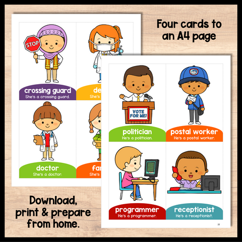 English Flashcards for Kids- Occupations Flashcards PDF