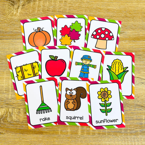 Fall Flashcards for ESL Vocabulary Activities and Vocabulary Games