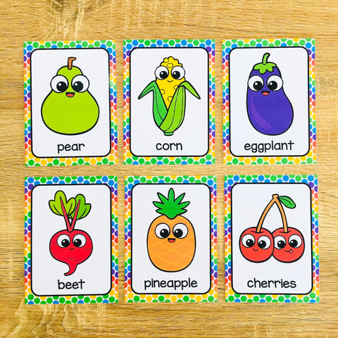 Fruit and Vegetable Flashcards for ESL Vocabulary Activities and Vocabulary Games