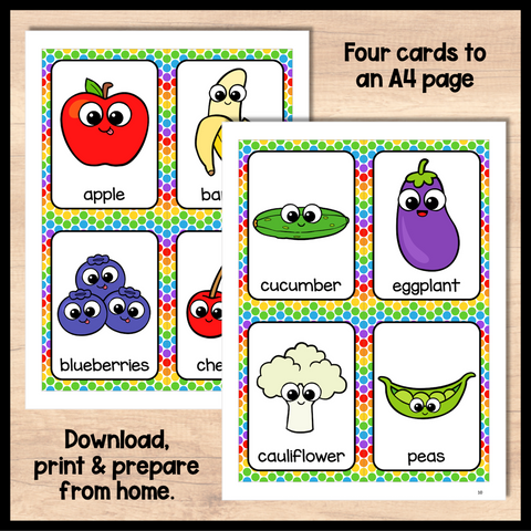 Fruit and Vegetable Flashcards for Online ESL and VIPKID Teachers