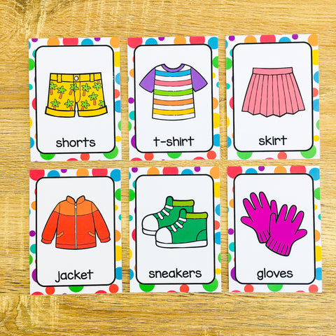 Online ESL and VIPKID Props - Printable Clothing Flashcards