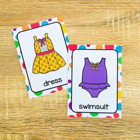 Printable Clothing Flashcards for ESL Beginners and Kids