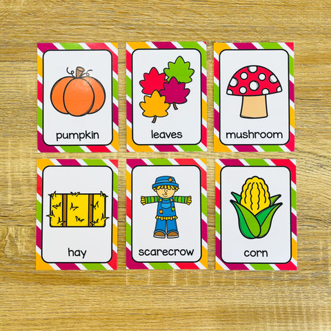 Printable ESL Flashcards for Fall Vocabulary Games and Fall Vocabulary Activities