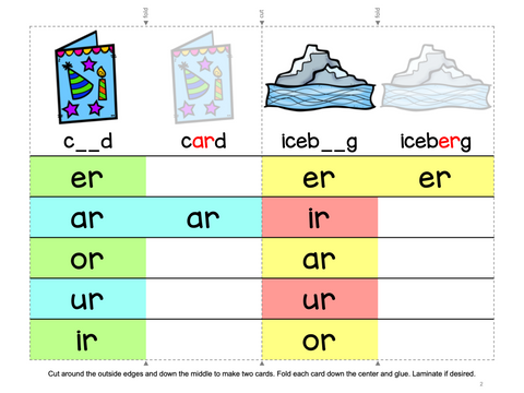 R Controlled Vowels Phonics Games