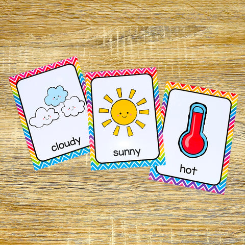 Weather Flashcards for ESL Vocabulary Activities and Vocabulary Games