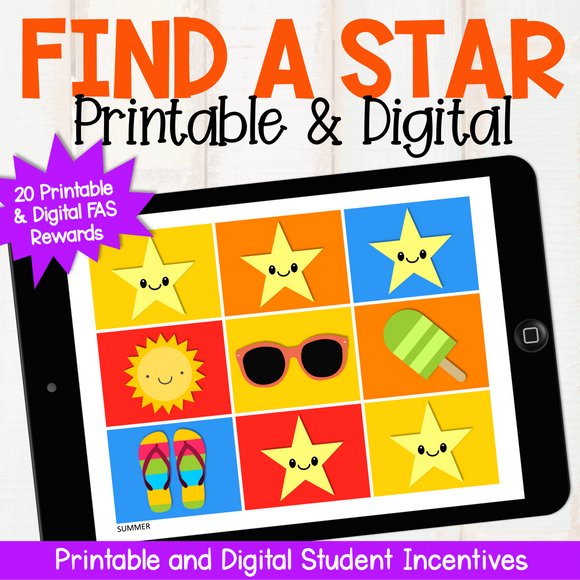 'Find a Star' Rewards - Printable and Digital (for Google Slides)