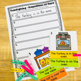 Thanksgiving Prepositions of Place Activities