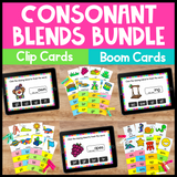 Consonant Blends Clip Cards and Boom Cards Bundle