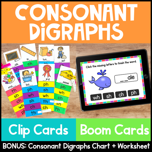Consonant Digraphs Clip Cards and Boom Cards